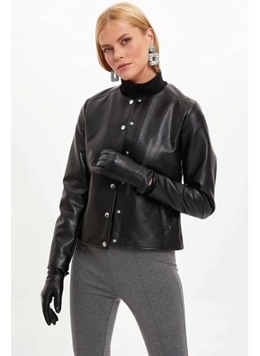 DeFacto Düğmeli Suni Deri Ceket Siyah